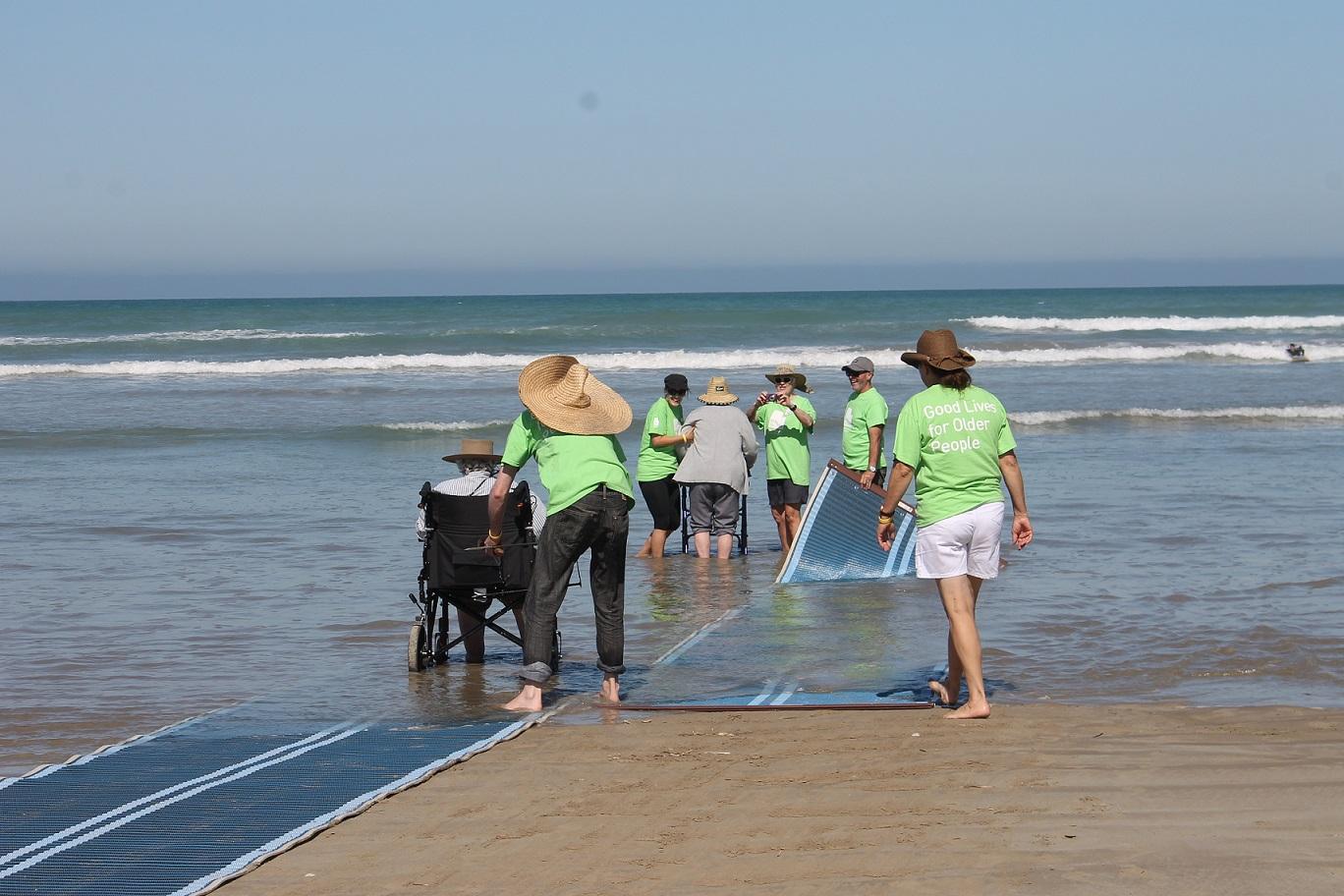 ACH residents enjoying glenelg beach