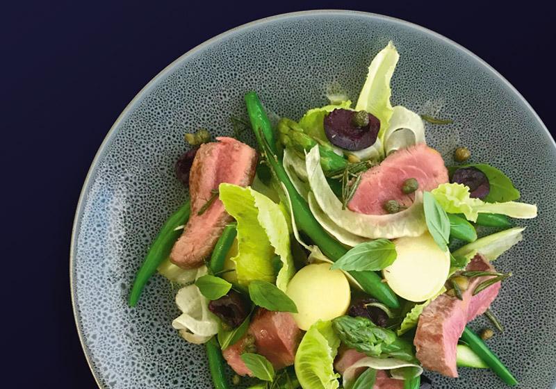 lamb and asparagus nicoise salad