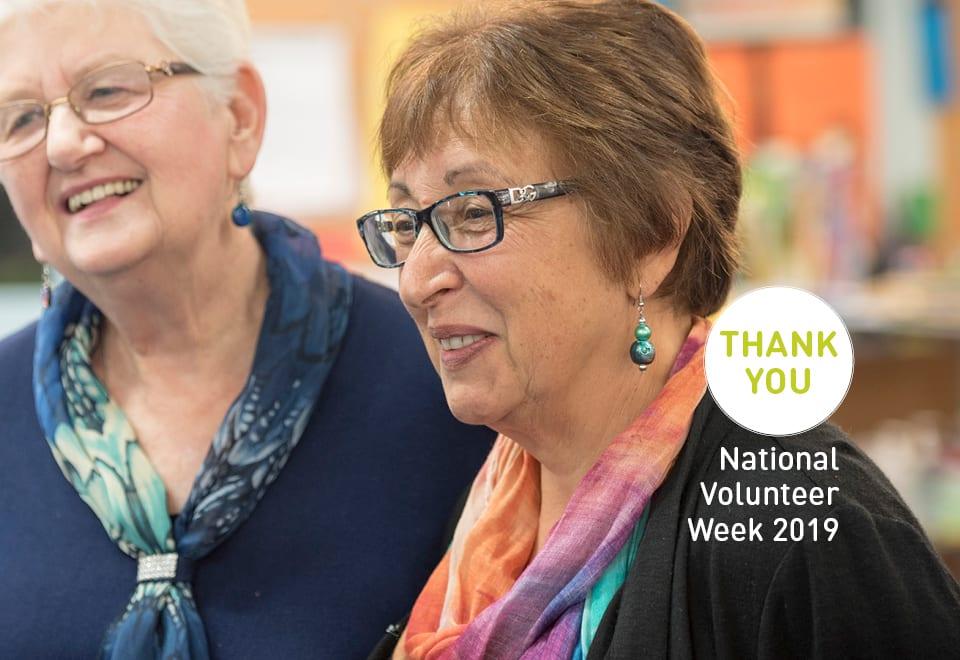2 older women attending National Volunteers Week 2019