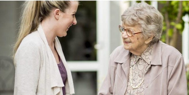 older resident at adelaide care home and grand daughter