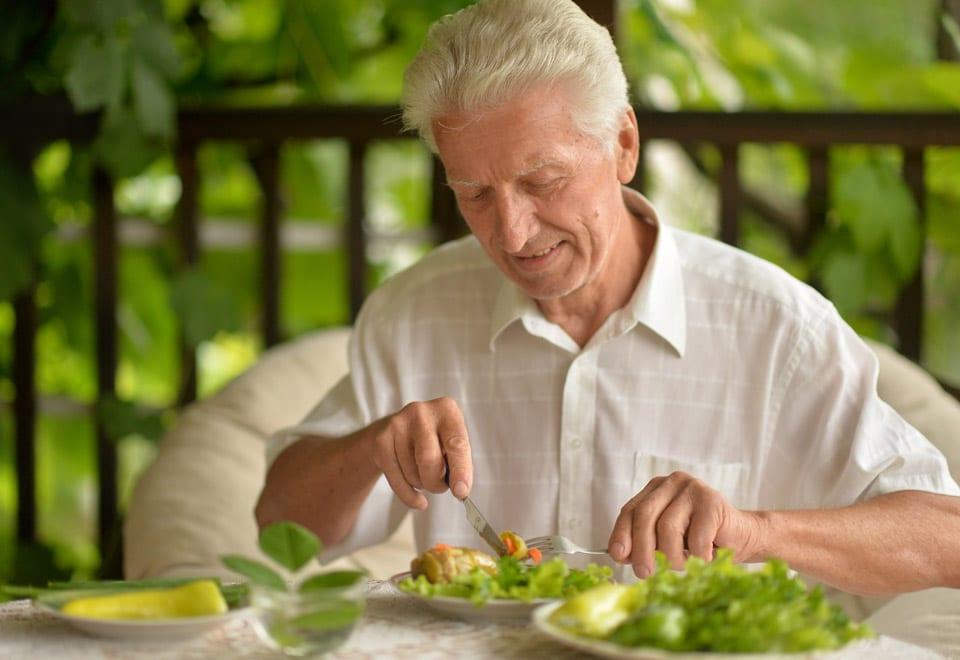 Man enjoying his food and mindful eating