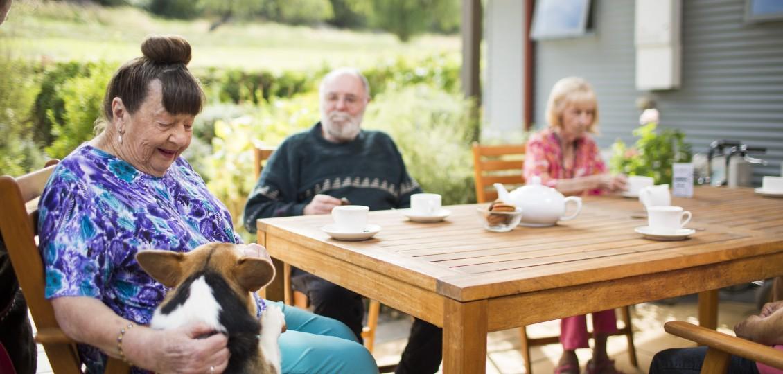 Port Noarlunga residential care home residents having tea