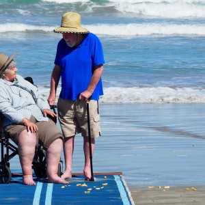 older couple who live at residential care home on Goolwa beach