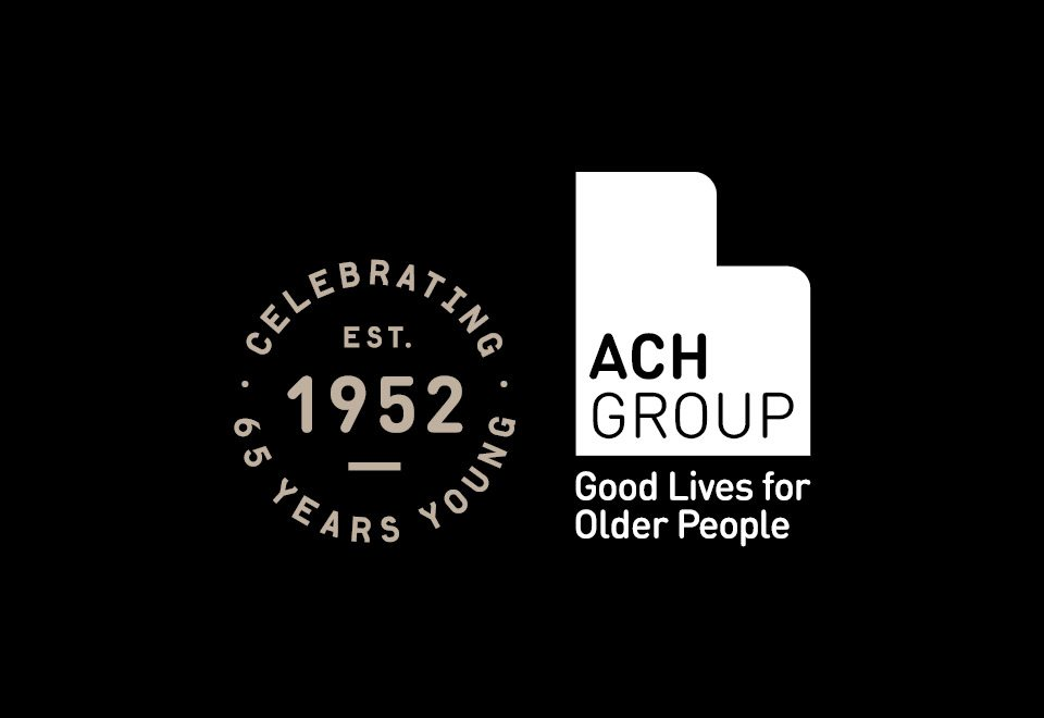 ach group logo and 65 years young logo over black background
