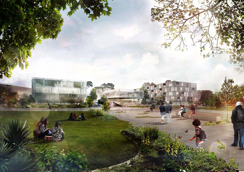 artist impression of the Northern Health Consortium with garden