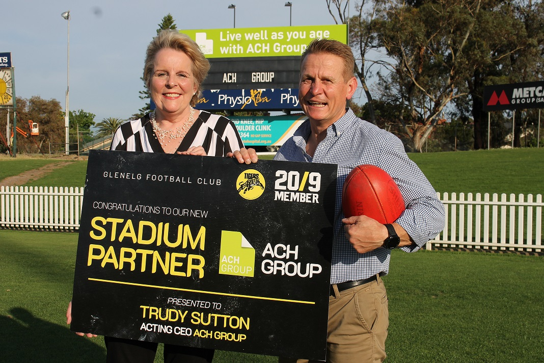 Trudy and Nick at ACH Group stadium in Glenelg
