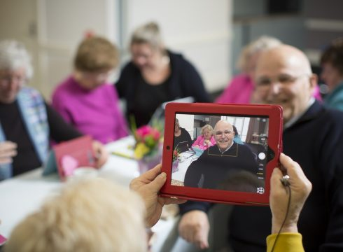 older people enjoying a party at aged care facility in adelaide