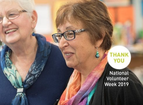 2 older women attending National Volunteers Week 2019