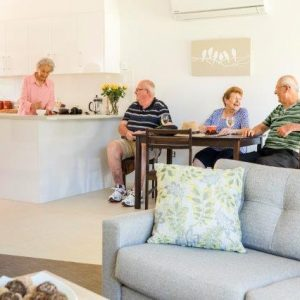 older people having lunch at morphett vale retirement living unit
