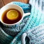 retirement living resident enjoying lemon and ginger tea in winter
