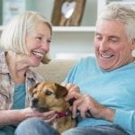 older couple with dog