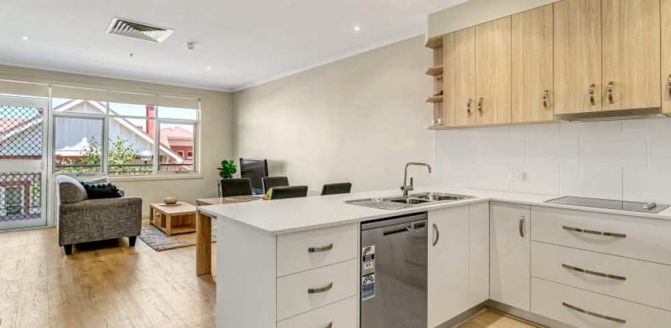 Glenelg retirement living unit kitchen and lounge room