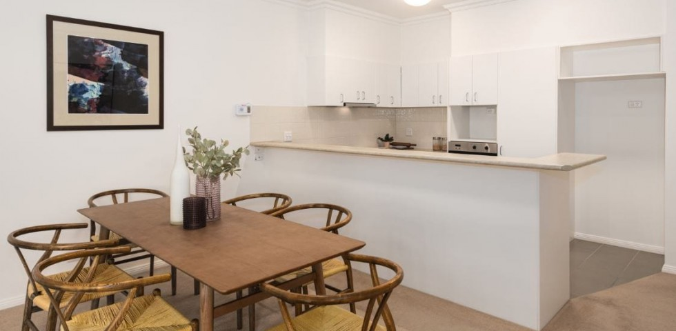 box hill retirement living unit dining area