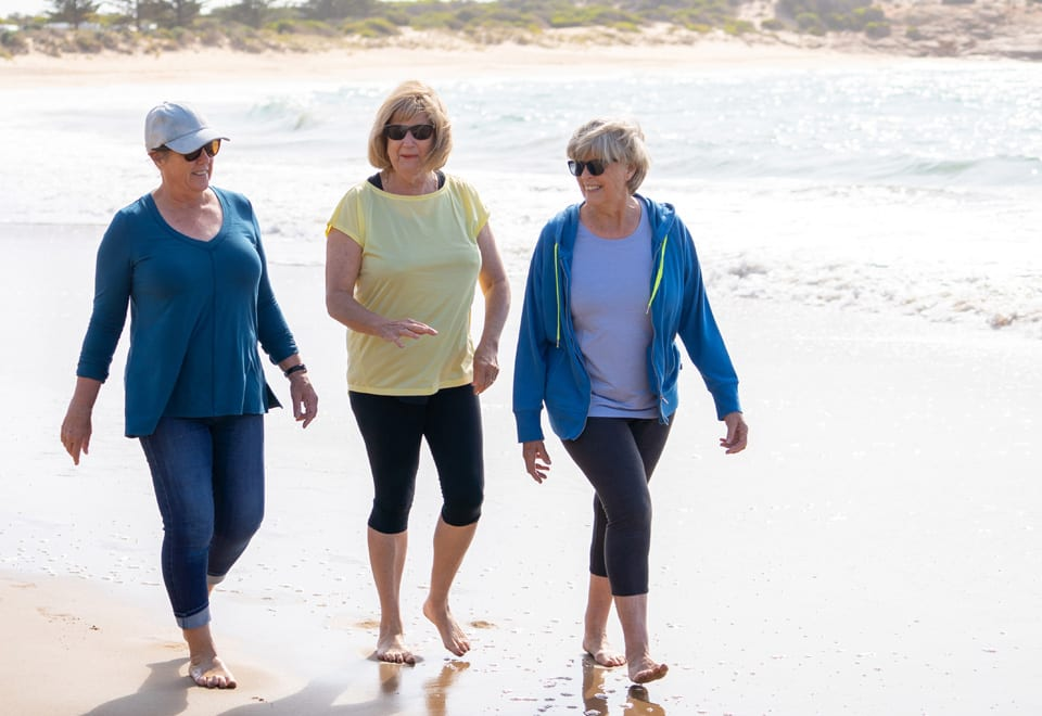 A group of older women getting back into fitness routine